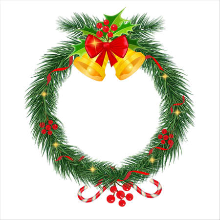 Vector. Christmas wreath border. Frame of green pine. Merry Christmas and Happy New Year 2021. Branches of a Christmas tree . New Years holiday decorations.