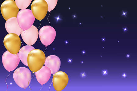 Happy birthday balloons on a beautiful background with an empty banner. Vector illustration