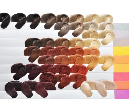 textura pelo: Establecer los colores de pelo. Matices Foto de archivo