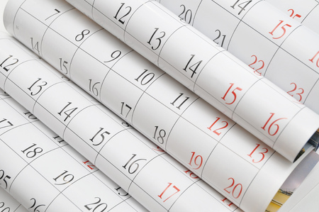 almanac: Close up a calendar page