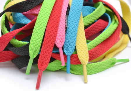 Multicolored shoelaces  Stock Photo