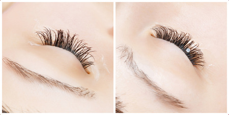 extension: Beautiful young woman eyelash extension