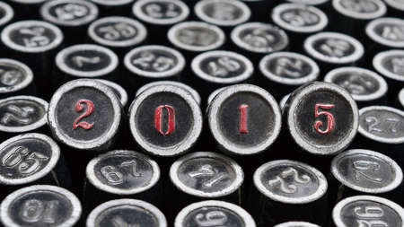 Happy New Year 2015. Numbers photographed using vintage type Stock Photo - 28504265