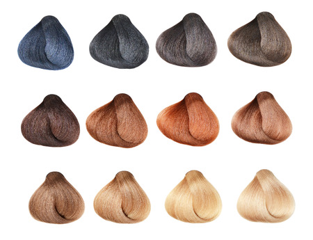 lock of hair: Hair Colors Set. Tints. Isolated on a white background