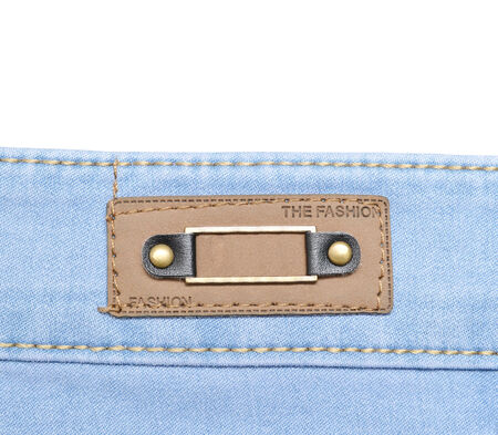 Blank leather jeans labels photo