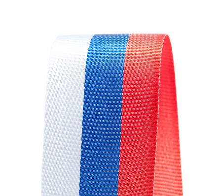 materia: Curl of Russian flag isolated on white background Stock Photo