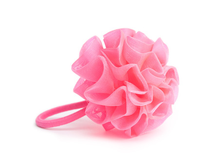 scrunchie: Pink scrunchie isolated on white