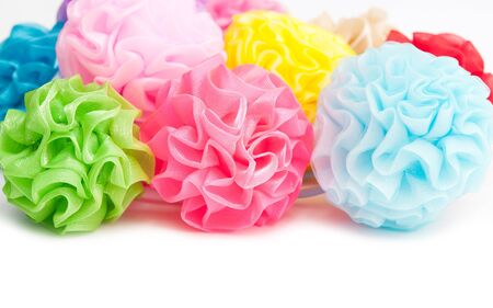 scrunchie: Colorful scrunchie isolated on white Stock Photo