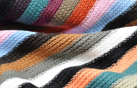 cable stitch: Vintage striped knitting wool texture background.Macro with extremely shallow dof. Stock Photo