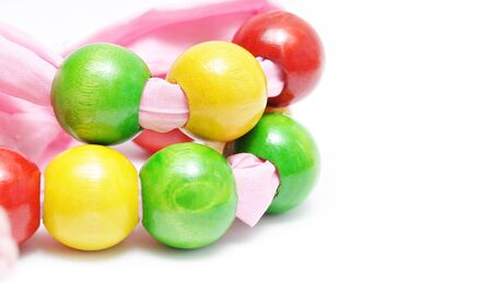 colorful beads: Beautiful colorful beads on white background