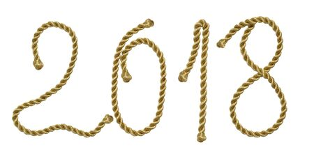 Happy New Year 2018. Golden shiny rope. Holidays design element for web, cards, calendar, poster, banner, invitation to a party. Saving clipping paths.