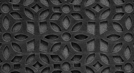Macro texture. Fragment black lace leather background.