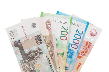 Currency russians rubles including new 200 and 2000 rub in set. Isolated on white background. Saving clipping paths. Banco de Imagens
