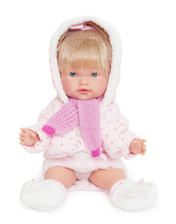 Beautiful doll in a hood for girls on a white background. Stok Fotoğraf