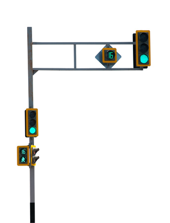 A traffic light with a green little man isolated on white background . Safety on the roads. Life insurance.  Saving clipping paths. Imagens