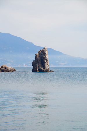 Romantic Image of the Black Sea coast in the Crimea. Rock sail.