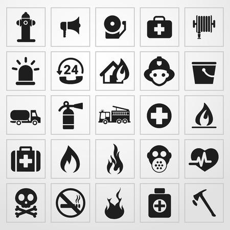 icono de aviso de incendio conjunto