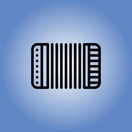 concertina: accordion icon. flat design. linear web illustration