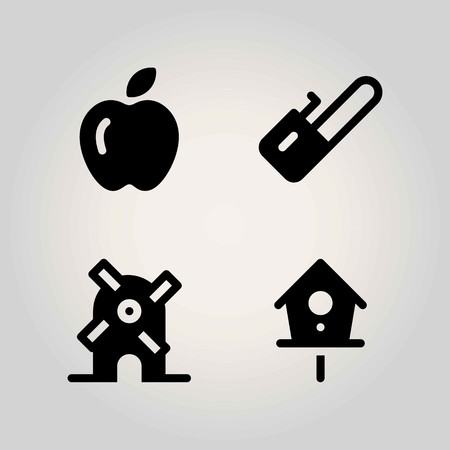 Farm vector icon set. Birdhouse, windmill, apple and chainsaw.