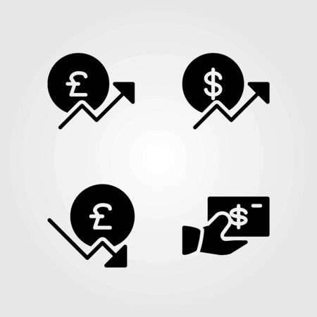 Sign vector icons set. Dollar, pound sterling and coin.