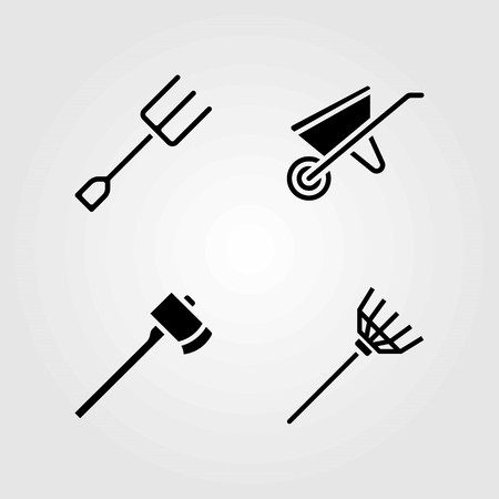 Garden vector icons set. Wheelbarrow, rake and fork. Ilustrace