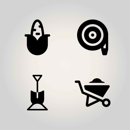 Agriculture vector icon set. Shovel, hose, wheelbarrow and corn.