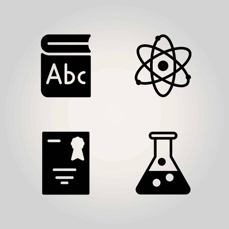 Science vector icon set. atom, Diploma and book illustration.