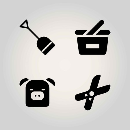 Boerderij vector icon set. Varken, winkelmandje, mandje en snoeischaar. Stock Illustratie