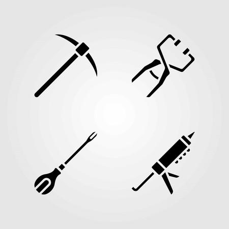 Tools vector icons set. Pick ax, sealant gun and screwdriver.