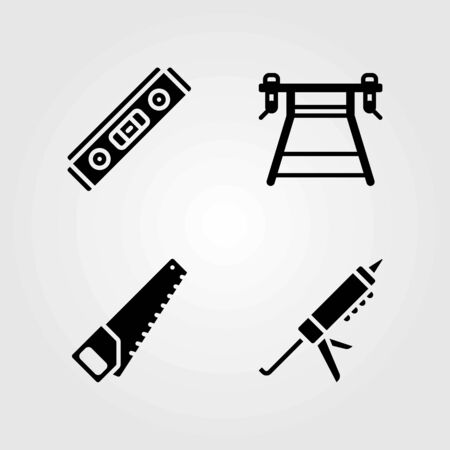Tools vector icons set. Work wrench, sealant gun and handsaw.