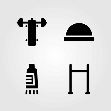 Fitness vector icons set. Cream, pull up and bench press.
