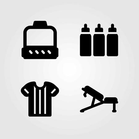 Fitness vector pictogrammen instellen. Katrol, bank en shirt illustratie.