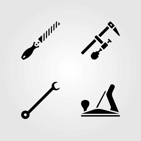 Tools vector icons set. Chisel, spanner and clamp illustration.