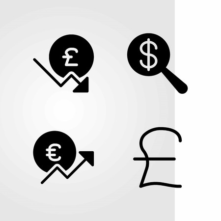 Sign vector icons set. Dollar, pound sterling and euro.