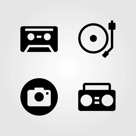 Multimedia vector icons set. Photo camera, cassette and boombox.