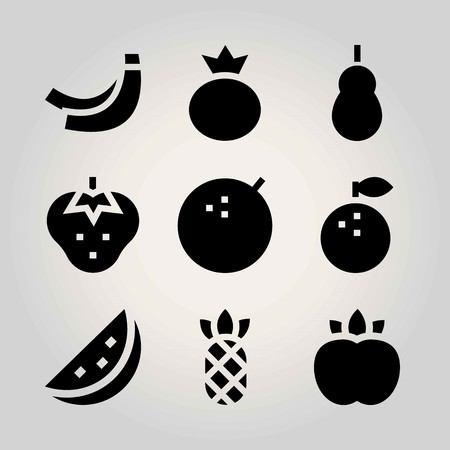 Fruits vector icon set. Berry, peach, lime and banana. Illustration