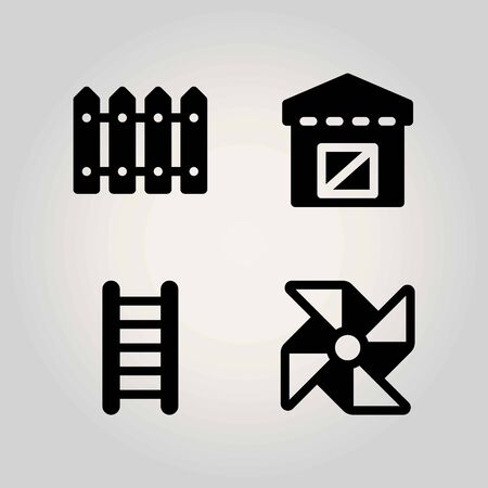 Farm vector icon set. fence, ladder, warehouse and pinwheel Stock Vector - 93960547