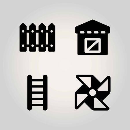 Farm vector icon set. fence, ladder, warehouse and pinwheel Illustration