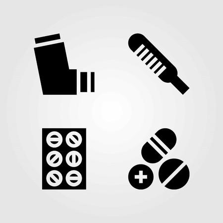 Medical vector icons set. inhaler, pills and tablets