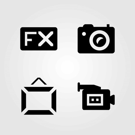 Multimedia vector icons set. frame, photo camera and fx Illustration