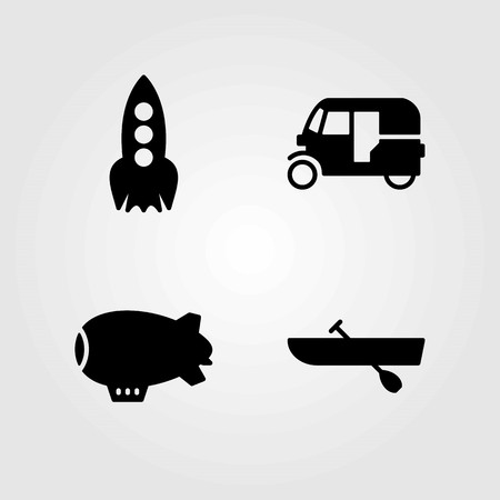 Transport vector icons set. Rocket, tuk tuk and rowing.