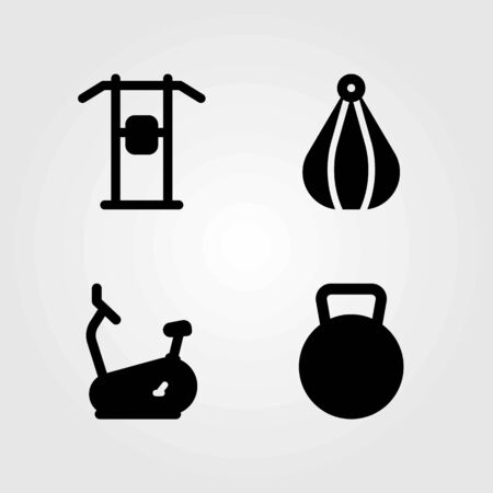 Fitness vector icons set. Stationary bike, bike and pull up. Illustration
