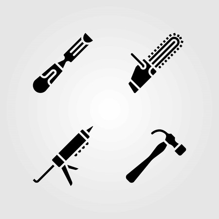 Tools vector icons set. chainsaw, chisel and sealant gun Illustration
