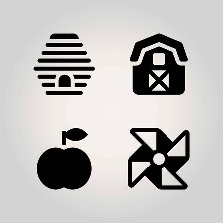 Agriculture vector icon set. pinwheel, peach, barn and beehive Illustration