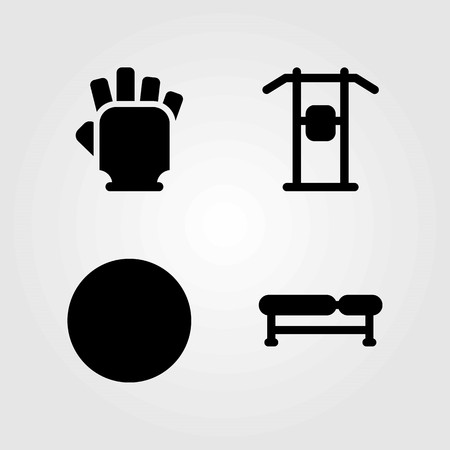 Fitness vector icons set. gloves, gym gloves and ball