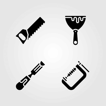 Tools vector icons set. clamp, chisel and handsaw