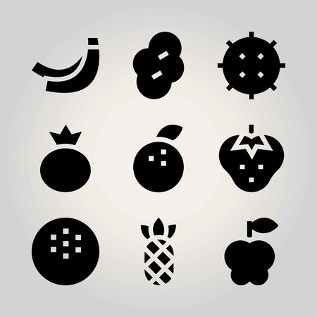 Fruits vector icon set. coconut, prune, banana and strawberry