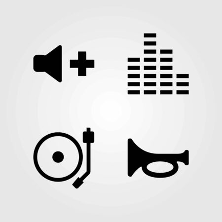 Multimedia vector icons set. sound bars, trumpet and turntable