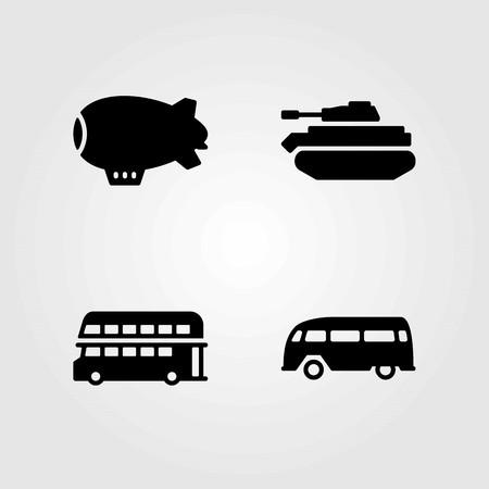 Transport vector icons set. tank, van and double Decker bus
