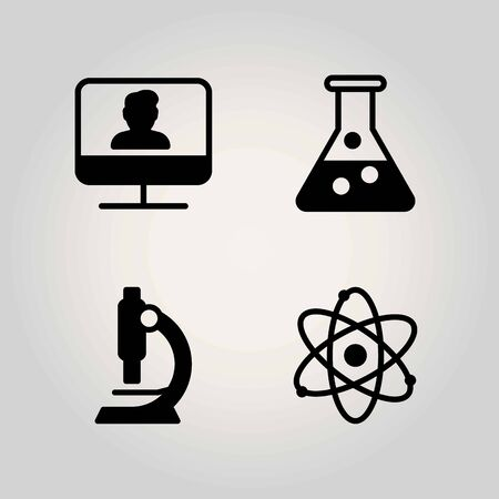 Science vector icon set. microscope, flask and atom 向量圖像